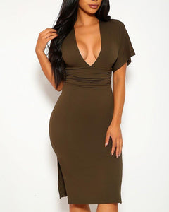 Adeline Midi Dress - Olive | BlissBabe