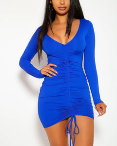 Amber Mini Dress - Blue | BlissBabe