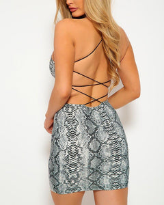 Priscilla Mini Dress - Snakeskin