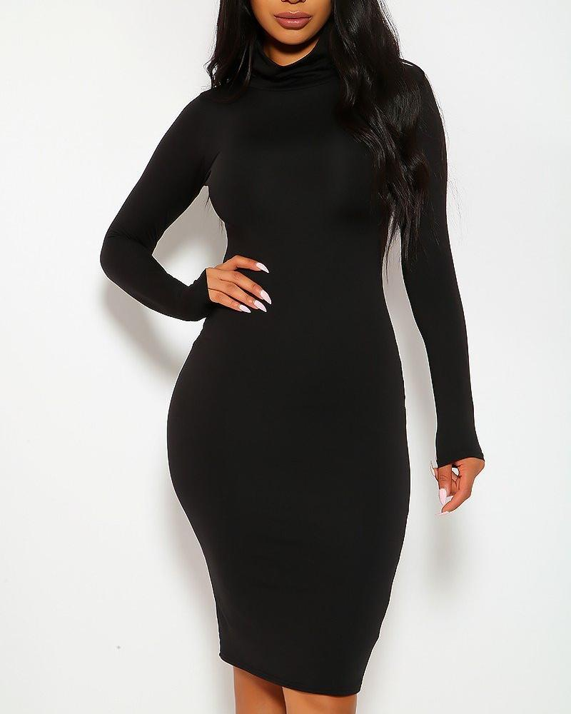 Bianca Midi Dress - Black | BlissBabe