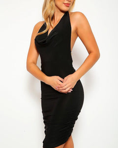 Emilia Ruched Midi Dress - Black | BlissBabe