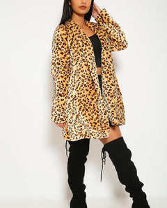 Lyla Faux Fur Coat - Leopard