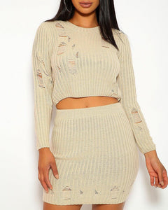 Heather Distressed Skirt Set - Cream