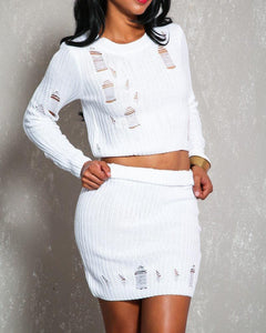 Heather Distressed Skirt Set - White