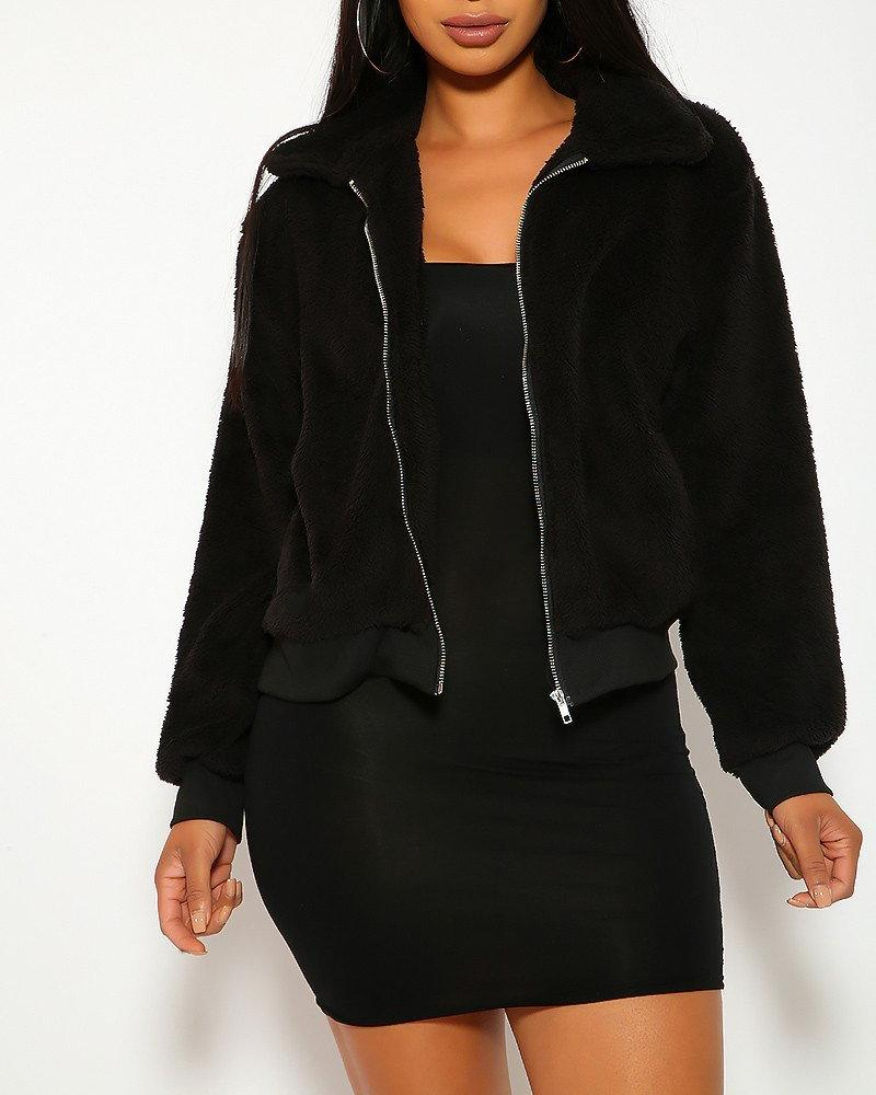 Cecilia Teddy Jacket - Black