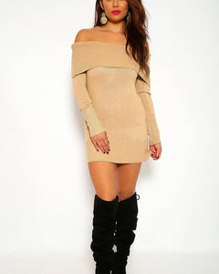 Felicity Sweater Mini Dress - Tan
