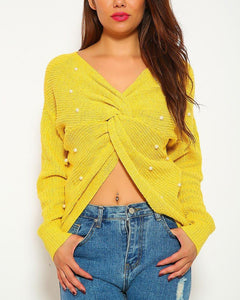 Courtney Pearl Sweater Top - Yellow | BlissBabe