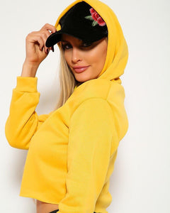 Olivia Cropped Hoodie - Yellow