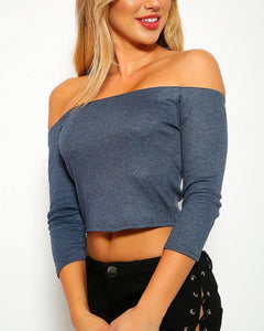Aisha Crop Top - Blue | BlissBabe