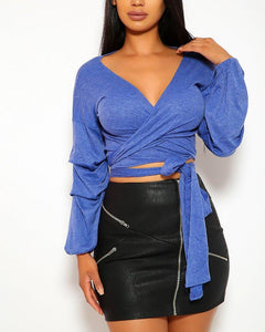 Vivienne Wrap Top - Blue | BlissBabe