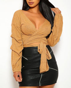 Vivienne Wrap Top - Tan | BlissBabe