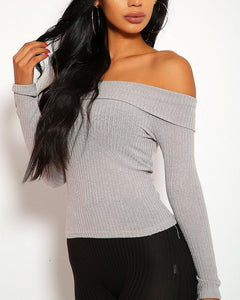 Monique Ribbed Top - Gray