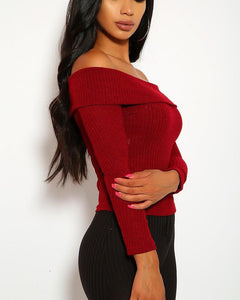 Monique Ribbed Top - Wine Red
