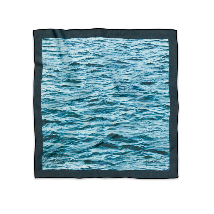 French Silk Scarf in Green Blue Sea