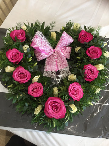 Heart Rose Wreath Pink