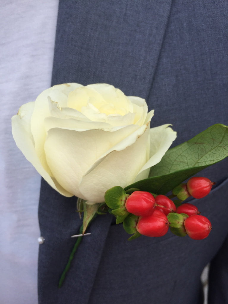 White Rose & Berry Buttonhole