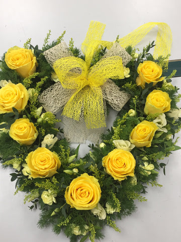 Heart Rose Wreath Yellow