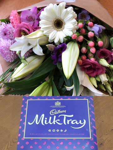 Flower Wrap & Chocolates Combo