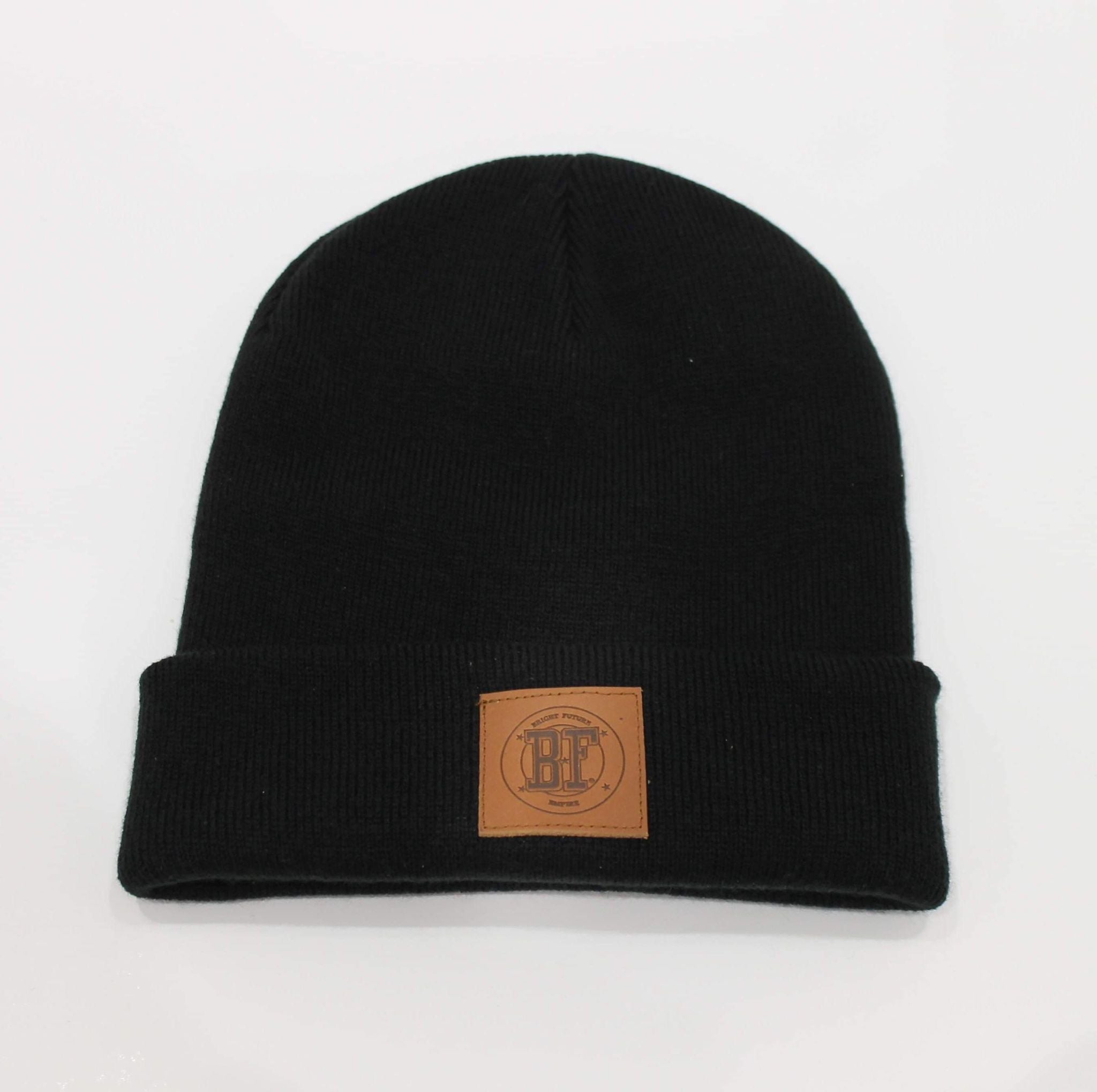 BFE Beanie Leather Patch Black