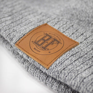 BFE Bobble Beanie Leather Patch Grey