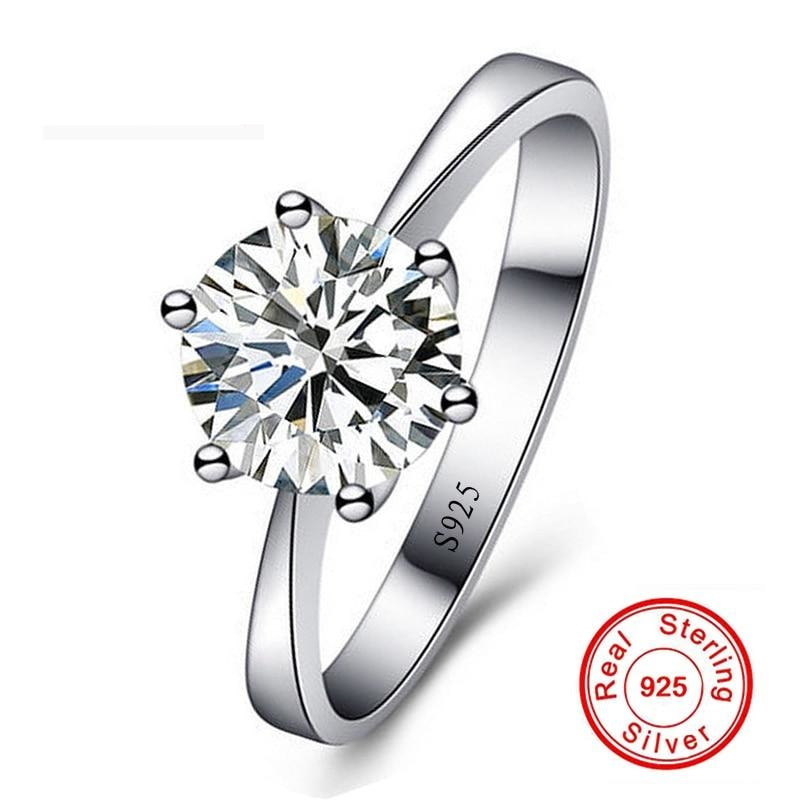 Lose Money Sale! Fine Jewelry Real Natural 925 Silver Wedding Rings Solitaire 8mm 2Ct CZ Zircon Engagement Rings for Women RB925 - Jewelry Core