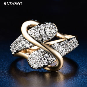 Vintage Luxury Fashion Ring Gold with CZ - Jewelry Core