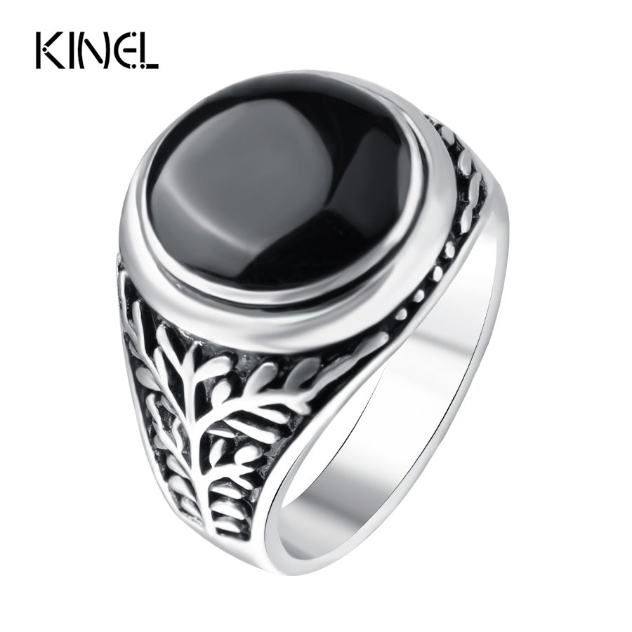 Personality Ring Color Silver Black Enamel Ring Retro