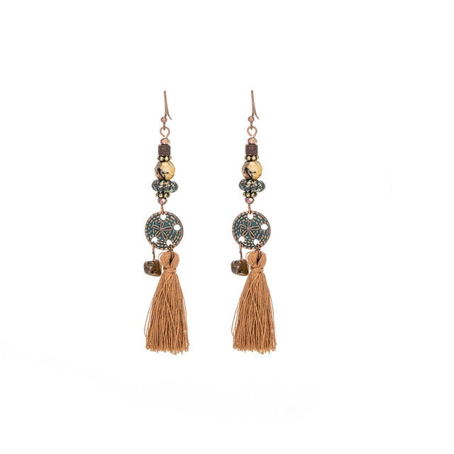 Antique Vintage Bohemian Ethnic Tassel Fringe Leaf Stones Earrings For Women Girls Anniversary Wedding Party Jewelry Charms