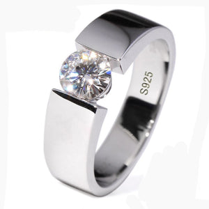 100% SOLID Pure Silver Men's 1 Carat Engagement Wedding Ring For Men