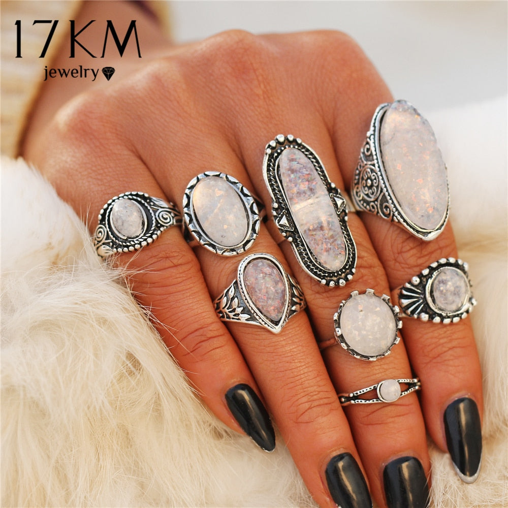 17KM BOHO Big Opal Stone Midi Rings Set - Jewelry Core