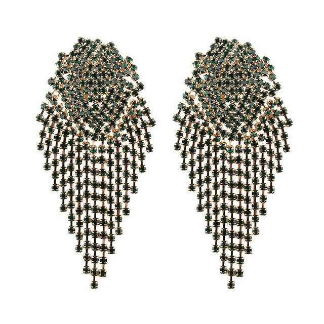 Best lady Geometric Metal Crystal Stud Tassel Earrings For Women Wedding Party Rhinestone Vintage Gifts Trendy Jewelry Brinco
