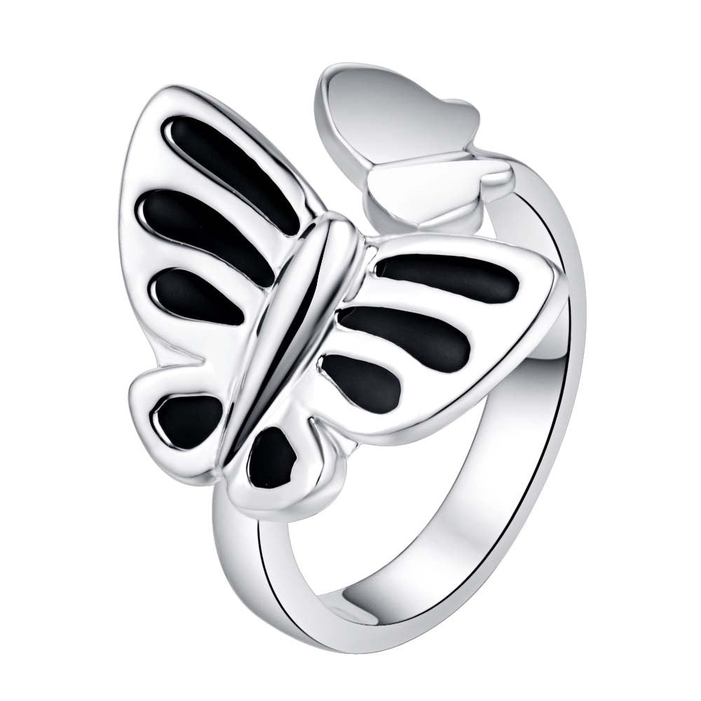 Shiny beautiful black butterfly Silver Ring