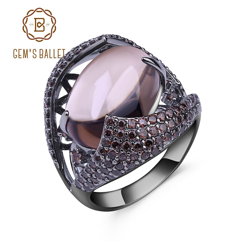 GEM'S BALLET Natural Smoky  Gemstone Cocktail Ring 925 Sterling Sliver Vintage Gothic Rings For Women Gift Party Jewelry