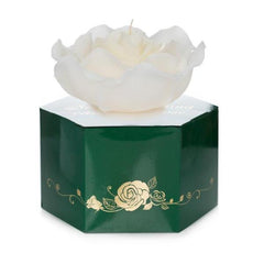 large, scented white rose floating candle 335g