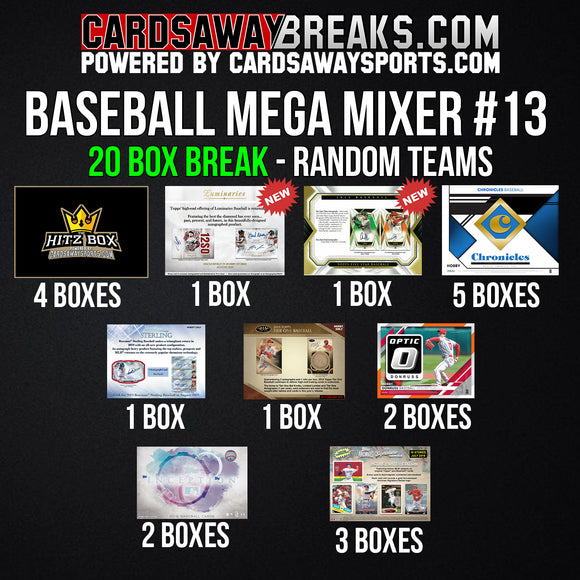 20-Box Baseball MEGA Mixer - RANDOM TEAMS #13