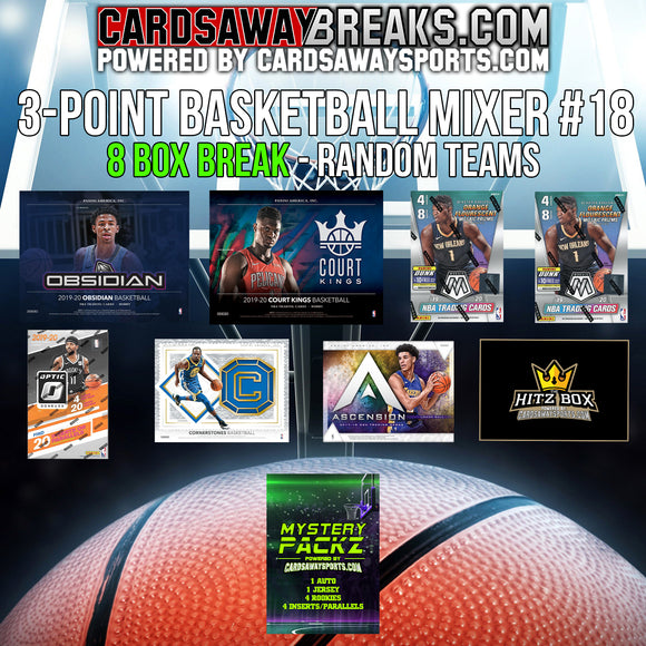 3-Point Basketball Mixer (8 Box) - RANDOM TEAMS #18 (1 MYSTERY PACK + $25 GIFT CARD)