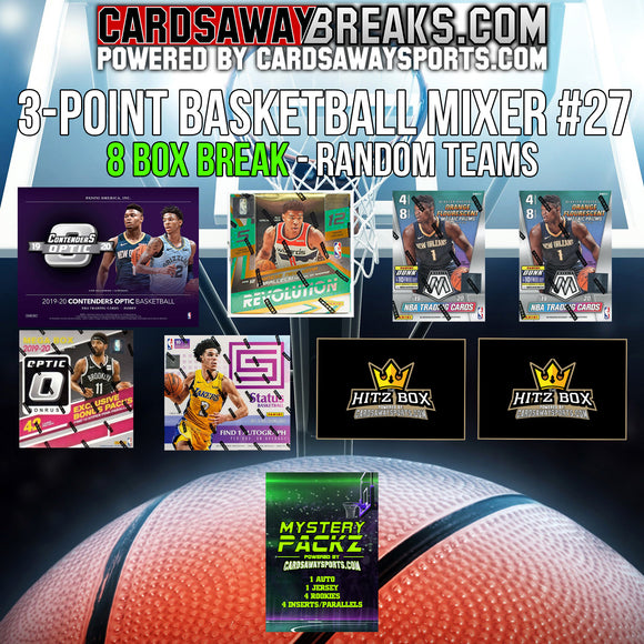 3-Point Basketball Mixer (8 Box) - RANDOM TEAMS #27 (1 MYSTERY PACK + $25 GIFT CARD)