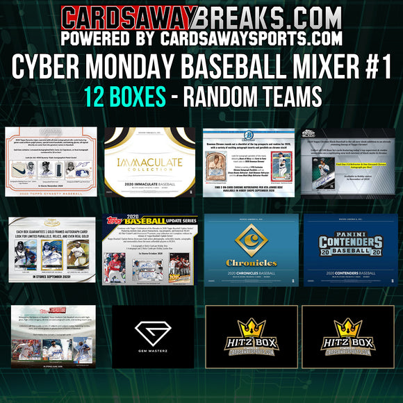 Cyber Monday Baseball Mixer (12 Box) - RANDOM TEAMS #1 ($25 GIFT CARD)