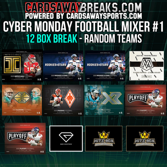 Cyber Monday Football Mixer (12 Box) - RANDOM TEAMS #1 ($25 GIFT CARD)