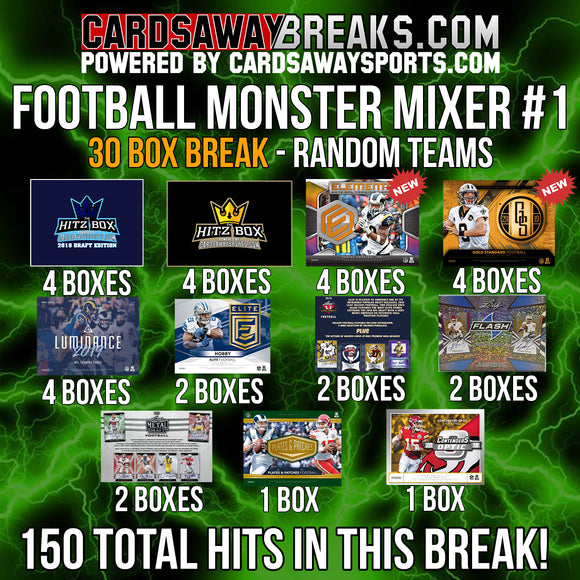 30-Box Football MONSTER Mixer - RANDOM TEAMS #1 (150 TOTAL HITS + FREE GIVEAWAYS)