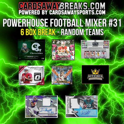 Powerhouse Football Mixer (6 Box) - RANDOM TEAMS #31 (2 BONUS CARDS + $25 GIFT CARD!)