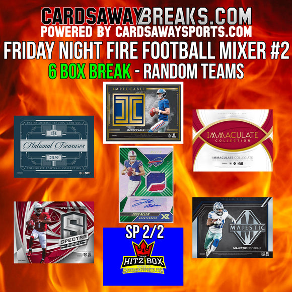 Friday Night Fire Football Mixer (6 Box) - RANDOM TEAMS #2 ($100 GIFT CARD GIVEAWAY!) [RELEASES 10-11-19]