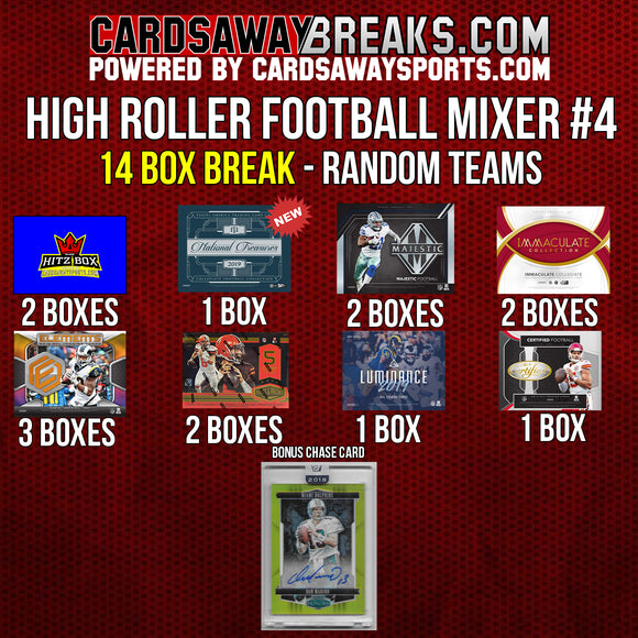 High Roller Football Mixer (14 Box) - RANDOM TEAMS #4 (Dan Marino Auto SP/15 Chase Card)