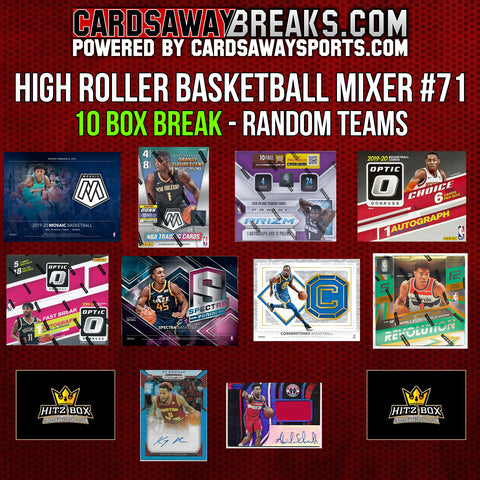 High Roller Basketball Mixer (10 Box) - RANDOM TEAMS #71 (2 BONUS CARDS + $50 GIFT CARD)