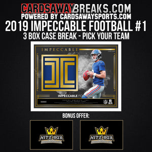 2019 Impeccable Football 3-Box Break - Pick Your Team #1 [RELEASES 10-11-19]