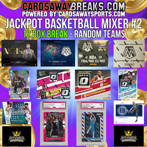 JACKPOT Basketball Mixer (12 Box) - RANDOM TEAMS #2 (2 BONUS CARDS + $100 GIFT CARD) [RELEASES 5-27-20]