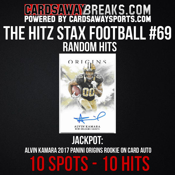 The Hitz Stax (Football) #69 - Alvin Kamara Rookie On Card Auto