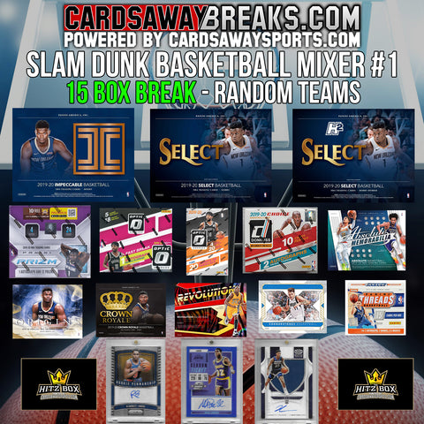 Slam Dunk Basketball Mixer (15 Box) - RANDOM TEAMS #1 (3 CHASE CARDS + $200 GIFT CARD)