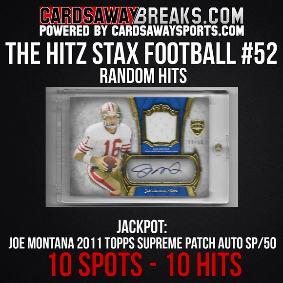 The Hitz Stax (Football) #52 - Joe Montana Patch Auto SP/50