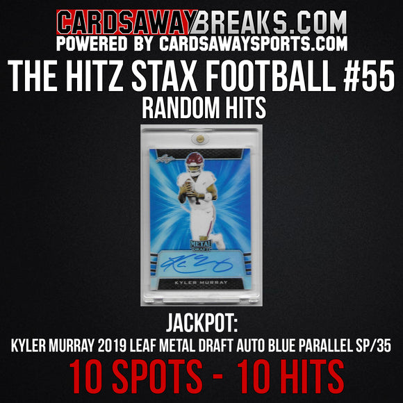 The Hitz Stax (Football) #55 - Kyler Murray Blue Auto SP/35